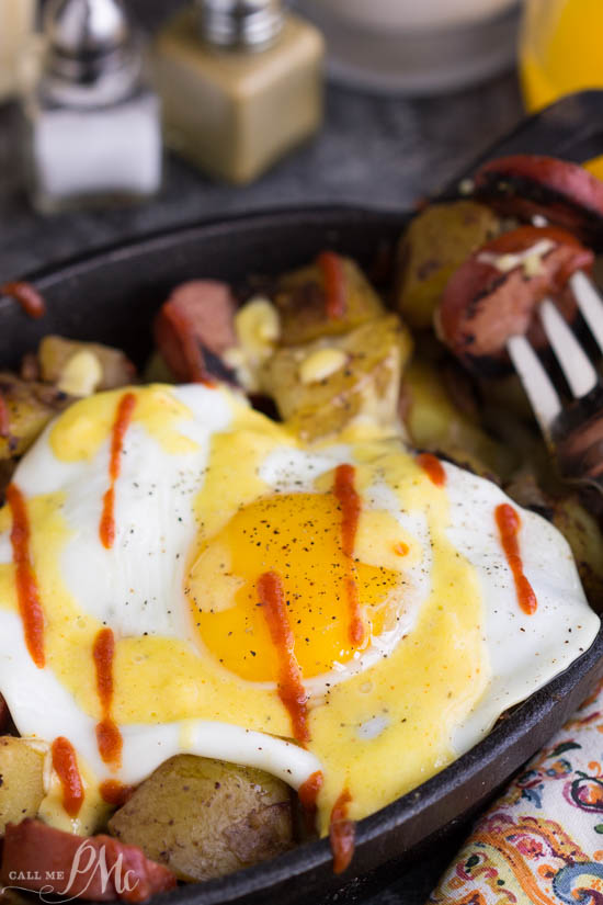 Sausage Potato Hash Fried Eggs Benedict Recipe with Blender Hollandaise Sauce Recipe. This Hollandaise has a silky smooth texture with a rich, buttery flavor a bright note from the lemon juice. It's surprisingly simple to make in the blender and will elevate whatever you put it on.