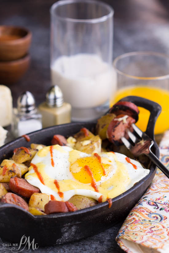 Sausage Potato Hash Fried Eggs Benedict Recipe. A delicious twist on Eggs Benedict, Sausage Potato Hash Fried Eggs Benedict Recipe has perfect fried eggs over sausage potato hash then topped with an amazing, creamy blender hollandaise.