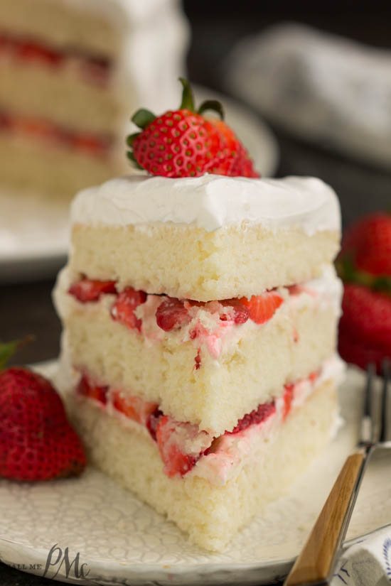 Impress your family and friends with this Strawberry Cream Cake filled with fresh strawberries, cream cheese, and whipped cream.