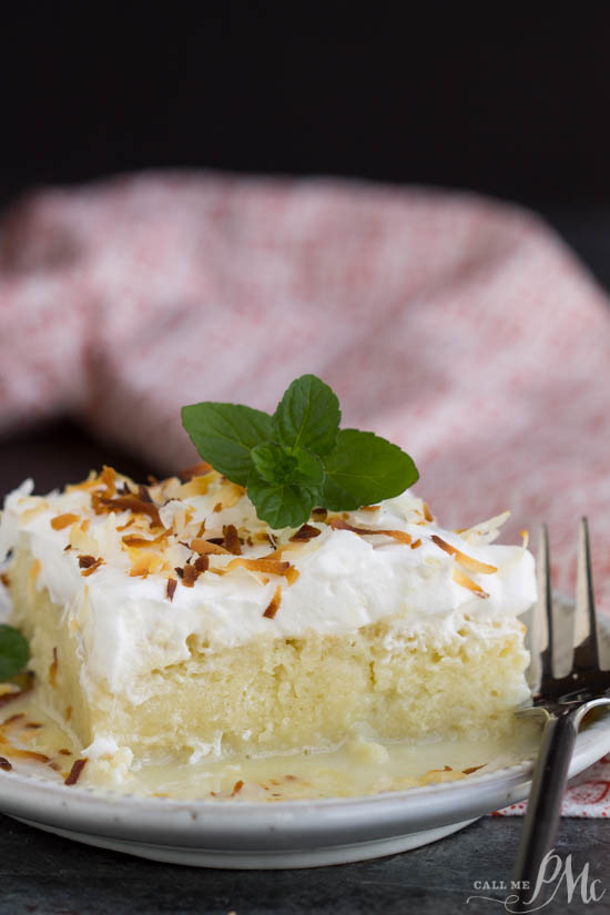 A fluffy Tres Leches Coconut Cake soaked with coconut milk, frosted with whipped cream and topped with toasted coconut. A wonderful coconut sponge cake soaks up a trio of milk and makes this an unforgettably luscious dessert.
