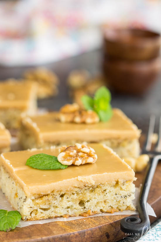 Moist and dense, Banana Bread Blondies with Quick Caramel Frosting have the texture of brownies and taste like banana bread only better! This dessert is rich, filling, and sweeter than traditional banana bread. It's a great recipe for brunch or snack with coffee. Another bonus, they are easy