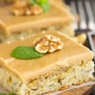 Banana Bread Blondies with Quick Caramel Frosting