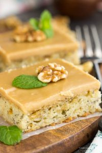 Most and dense, Banana Bread Blondies with Quick Caramel Frosting have the texture of brownies and taste like banana bread! This dessert is rich, filling, and sweeter than traditional banana bread. It's a great recipe for brunch or snack with coffee. Another bonus, they are easy to prepare and cook faster than a loaf.