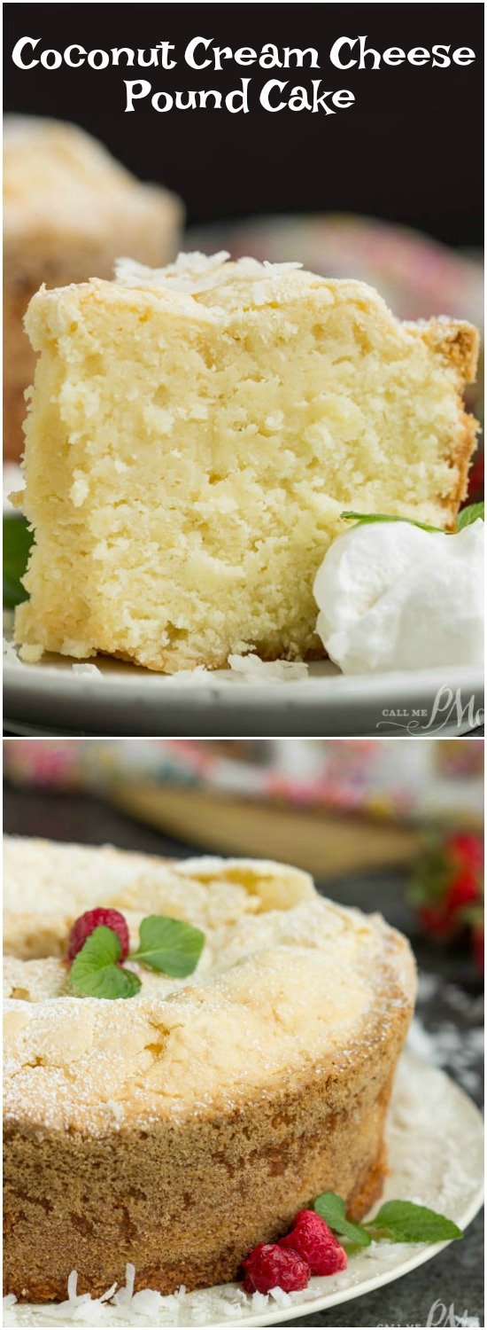 Recipe. Coconut Cream Cheese Pound Cake from Scratch. This Coconut Cream Cheese Pound Cake recipe is crazy delicious. Dense and buttery this pound cake is topped simply with a sprinkle of powdered sugar thenserved with whipped cream and berries. This rich, dense, buttery cake is dessert perfection.