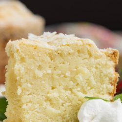 Recipe. Coconut Cream Cheese Pound Cake from Scratch. This Coconut Cream Cheese Pound Cake recipe is crazy delicious. Dense and buttery this pound cake is topped simply with a sprinkle of powdered sugar thenserved with whipped cream and berries. This rich, dense, buttery cake is dessert perfection. #cake #poundcake #poundcakepaula #recipe #dessert #bundt #homemade #coconut #creamcheese #fromscratch