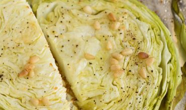 Parmesan Roasted Cabbage with Pine Nuts