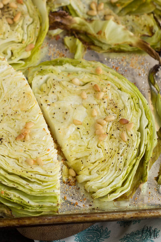 Parmesan Roasted Cabbage with Pine Nuts recipe makes a healthy, easy, and flavorful side dish.