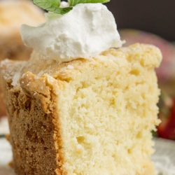 Dessert. This Sour Cream Coconut Pound Cake recipe is crazy delicious. Dense and buttery this pound cake is topped simply with a sprinkle of powdered sugar then served with whipped cream and berries. This rich, dense, buttery cake is dessert perfection.
