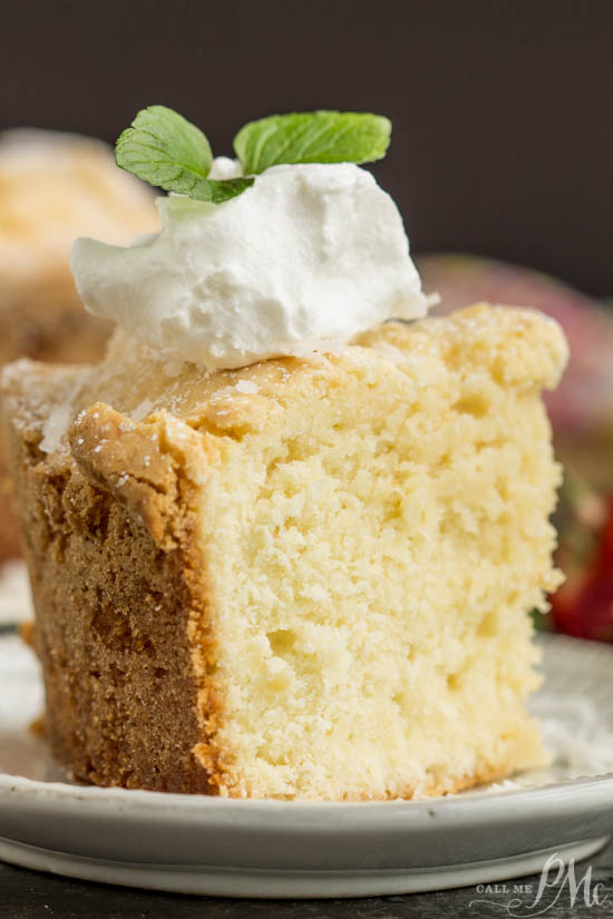 Dessert. This Coconut Cream Cheese Pound Cake recipe is crazy delicious. Dense and buttery this pound cake is topped simply with a sprinkle of powdered sugar then served with whipped cream and berries. This rich, dense, buttery cake is dessert perfection.