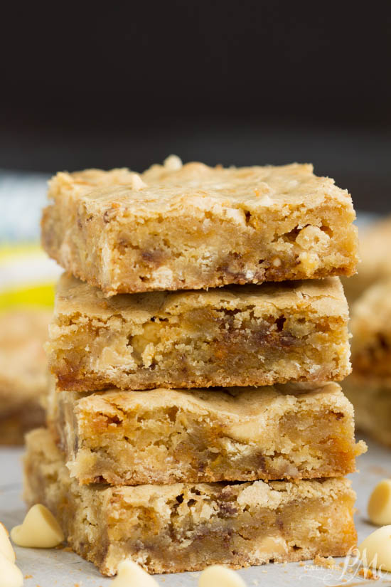 Butterfinger Blondies recipe. Butterfinger Blondies recipe, these soft and chewy blondies are loaded with white chocolate and rich peanut buttery Butterfingers! I'm a big believer in packing blondies to the max with chocolate goodness!