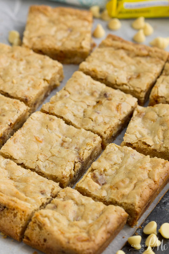 Butterfinger Blondies recipe. dessert bars . Butterfinger Blondies recipe, these soft and chewy blondies are loaded with white chocolate and rich peanut buttery Butterfingers! I'm a big believer in packing blondies to the max with chocolate goodness!