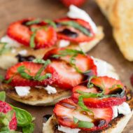 A perfect dish for a quick and easy appetizer or snack, Strawberry Goat Cheese Bruschetta Recipe is fresh, fruity, light and healthy bruschetta with succulent strawberries and tangy goat cheese.