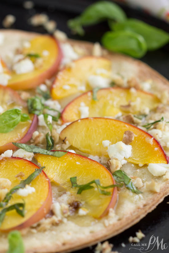 Low-Carb Peach Mascarpone Dessert Flatbread recipe has delicate slices of peaches on a crisp and flavorful cauliflower crust. Then, it's topped with rich mascarpone cheese,goat cheese, walnuts, and basil! A light drizzle of honey finishes off this in-season fruit pizza.