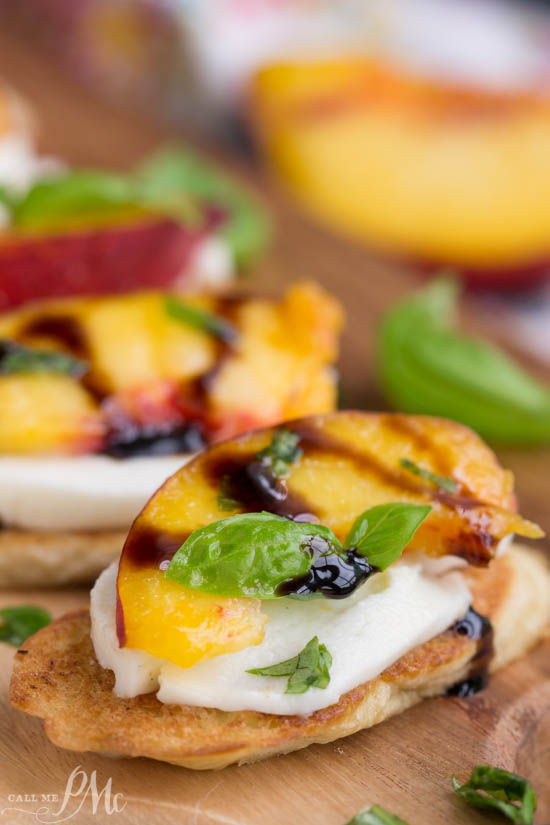recipe. appetizer. Sweet summer peaches are served on a toasted French baguetteand a pillow of mozzarella cheese then glazed with a balsamic reduction in my Peach Bruschetta recipe.