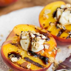 Peaches and Mascarpone with Balsamic Reduction take advantage of seasonal indulgences, utilized at the peak of their harvest then paired perfectly with mascarpone cheese in this appetizer recipe.