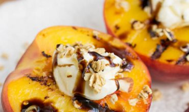 Peaches and Mascarpone with Balsamic Reduction