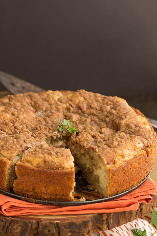 This easy Pumpkin Cream Cheese Crumb Cake with a cream cheese swirl and a crumb topping. It is sweet and moist and great for breakfast or dessert.