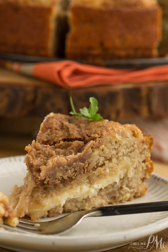 This Pumpkin Cream Cheese Crumb Cake is great for breakfast, brunch, or dessert. #cake #dessert #recipe #pumpkin #breakfast #dessert