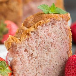 Fresh Strawberry Buttermilk Pound Cake (No Jello or Kool-Aid) is a delightful strawberry pound cake made with condensed fresh strawberries. It's luscious and soft, yet not too sweet, and bursting with fresh strawberry flavor.