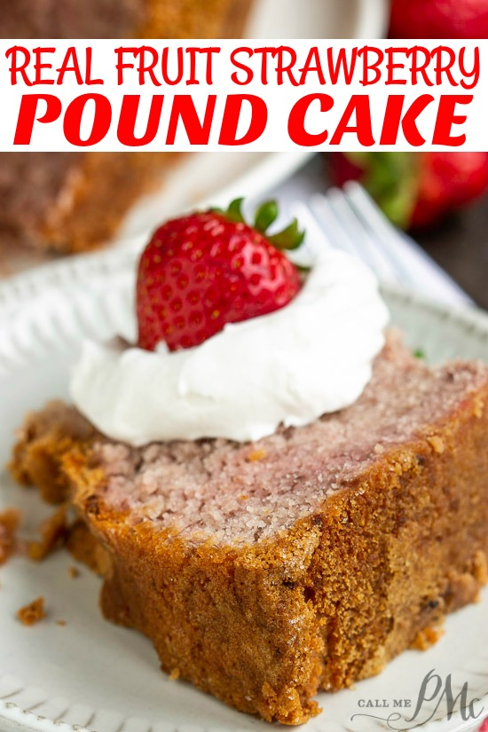 Real Fruit Strawberry Buttermilk Pound Cake (No Jello or Kool-Aid) recipe is a delightful strawberry pound cake made with condensed fresh strawberries. It's luscious and soft, yet not too sweet, and bursting with fresh strawberry flavor.