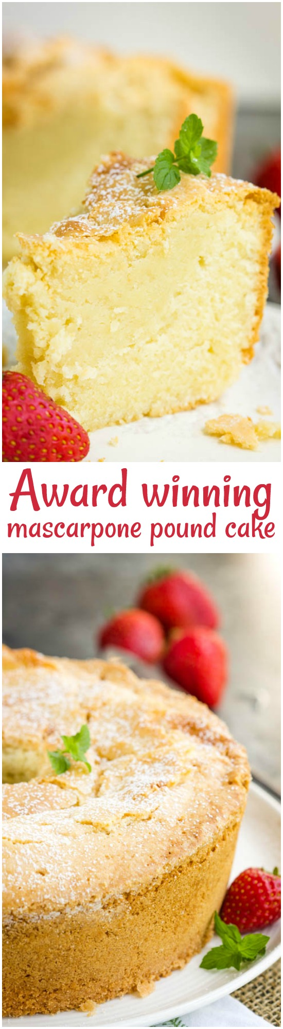 Award-winning Mascarpone Pound Cake is a dense, buttery, and moist pound cake recipe with a fine, tender crumb and a brown, crusty outside and top.