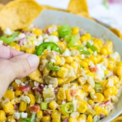 Perfect for parties and entertaining, Mexican Street Corn Dip Recipe has the same great spicy flavors as Mexican Street Corn. This recipe is very versatile. It can be served as a dip hot or at room temperature, as a side dish, or in tacos or wraps.