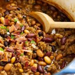 Hearty, flavorful, nutritious, and healthy, Stovetop Bourbon Bacon and Sausage 'Baked' Beans recipe thick and meaty. They make the perfect complement to your game day table, potluck, or barbecue all year.