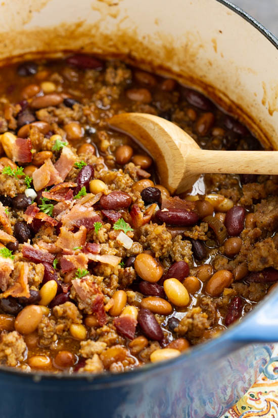 Stovetop Bourbon Bacon and Sausage Baked Beans. Hearty, flavorful, nutritious, and healthy, Stovetop Bourbon Bacon and Sausage 'Baked' Beans recipe thick and meaty. They make the perfect complement to your game day table, potluck, or barbecue all year.