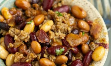Stovetop Bourbon Bacon and Sausage Baked Beans