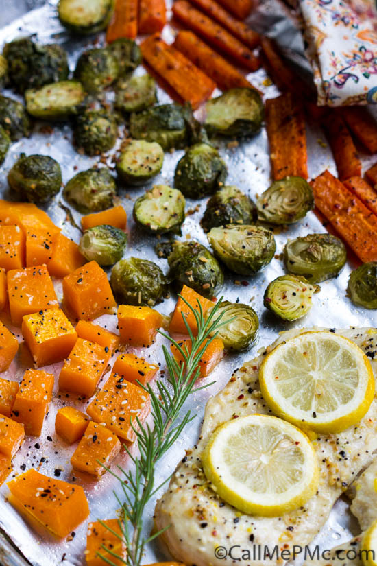 If you're looking for a quick, healthy weeknight dinner that's ideal for meal prep, look no further, Flavorful Sheet Pan Roasted Chicken, Butternut Squash, Brussels, and Carrots is perfect! #roast #vegetables #chicken #dinner #meal #sheetpan #mealprep