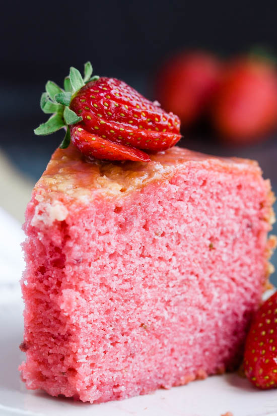 Melt in your Mouth Strawberry Buttermilk Pound Cake is simply amazing. The intense strawberry flavor and ultra-moist cake make a winning combination. #cake #poundcake #poundcakepaula #strawberry #jello #homemade #easy #dessert #recipe #Eastercake #Springcake via @pmctunejones