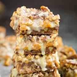 Pecan Pie Magic Cookie Bars with Chocolate Shortbread Crust