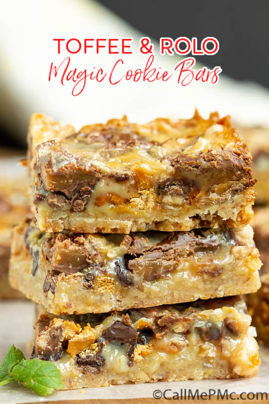 Pecan Shortbread Toffee and Rolo Magic Cookie Bars, AKA Magic Cookie Bars, Hello Dolly Bars, or 7 Layer Bars this dessert recipe is awesome! #dessert #recipe #Rolos #candy #chocolate #caramel #bars #candybar #easy #baked via @pmctunejones