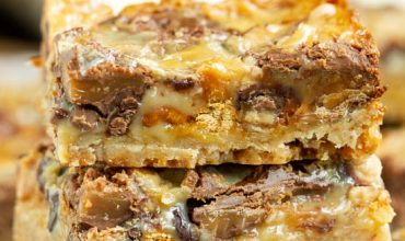 Pecan Shortbread Toffee and Rolo Magic Cookie Bars