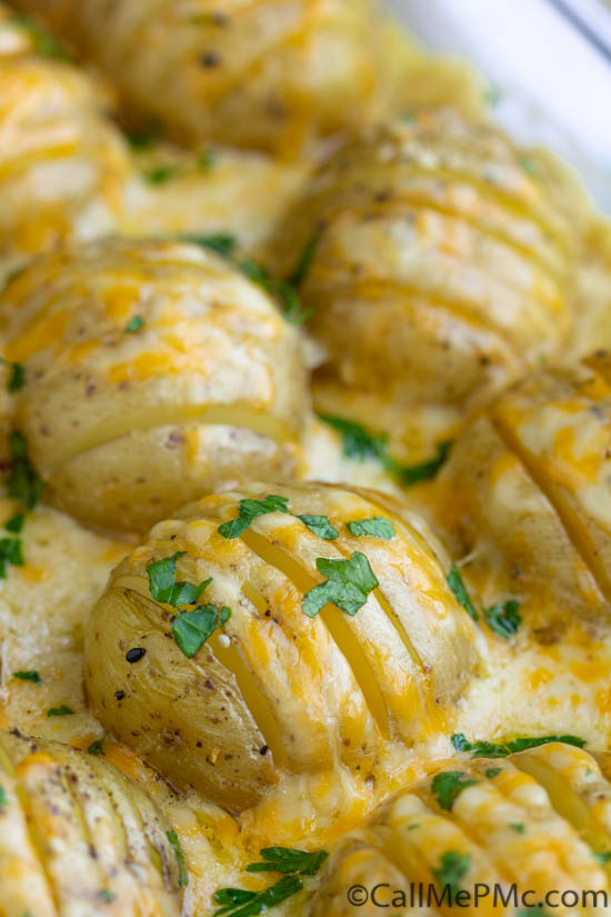 An easy and delicious recipe for cheesy, garlicky, crazy-delicious Hasselback Scalloped Potatoes. Perfect side dish for a family dinner! #sidedish #potatoes #recipe #recipes #cheese #hasselbeck #scalloped #easy #Thanksgiving #Christmas #holiday #holidaymeal via @pmctunejones