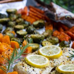 Sheet Pan Roasted Chicken, Butternut Squash, Brussels, and Carrots recipe