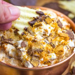 Butterfinger Dip with Chocolate Covered Potato Chips