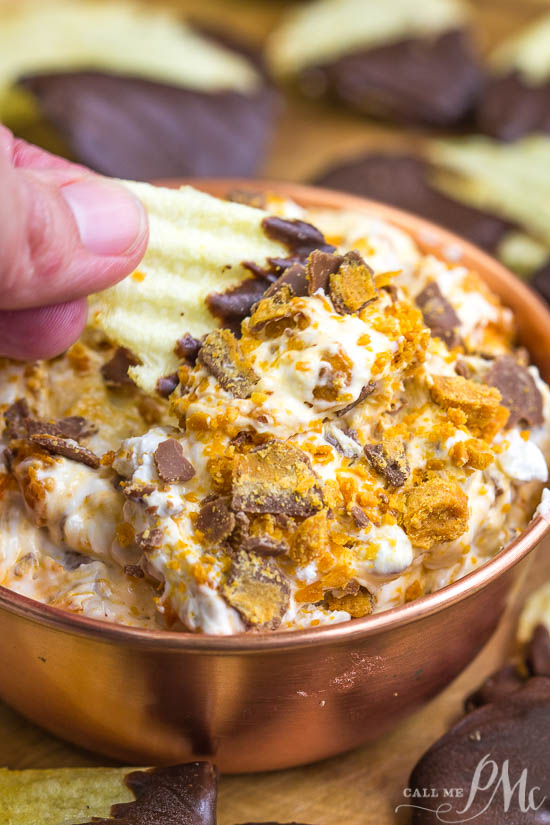 Butterfinger Dip with Chocolate Covered Potato Chips a fun and delicious way to enjoy your favorite candy. It just takes minutes to make. Enjoy it with a sweet and salty combo of Chocolate Covered Potato Chips.
