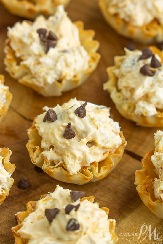 No-Bake Butterfinger™ Cheesecake Tartsrecipe is a creamy no-bakepie with Butterfinger candy in a pre-made tart shell.