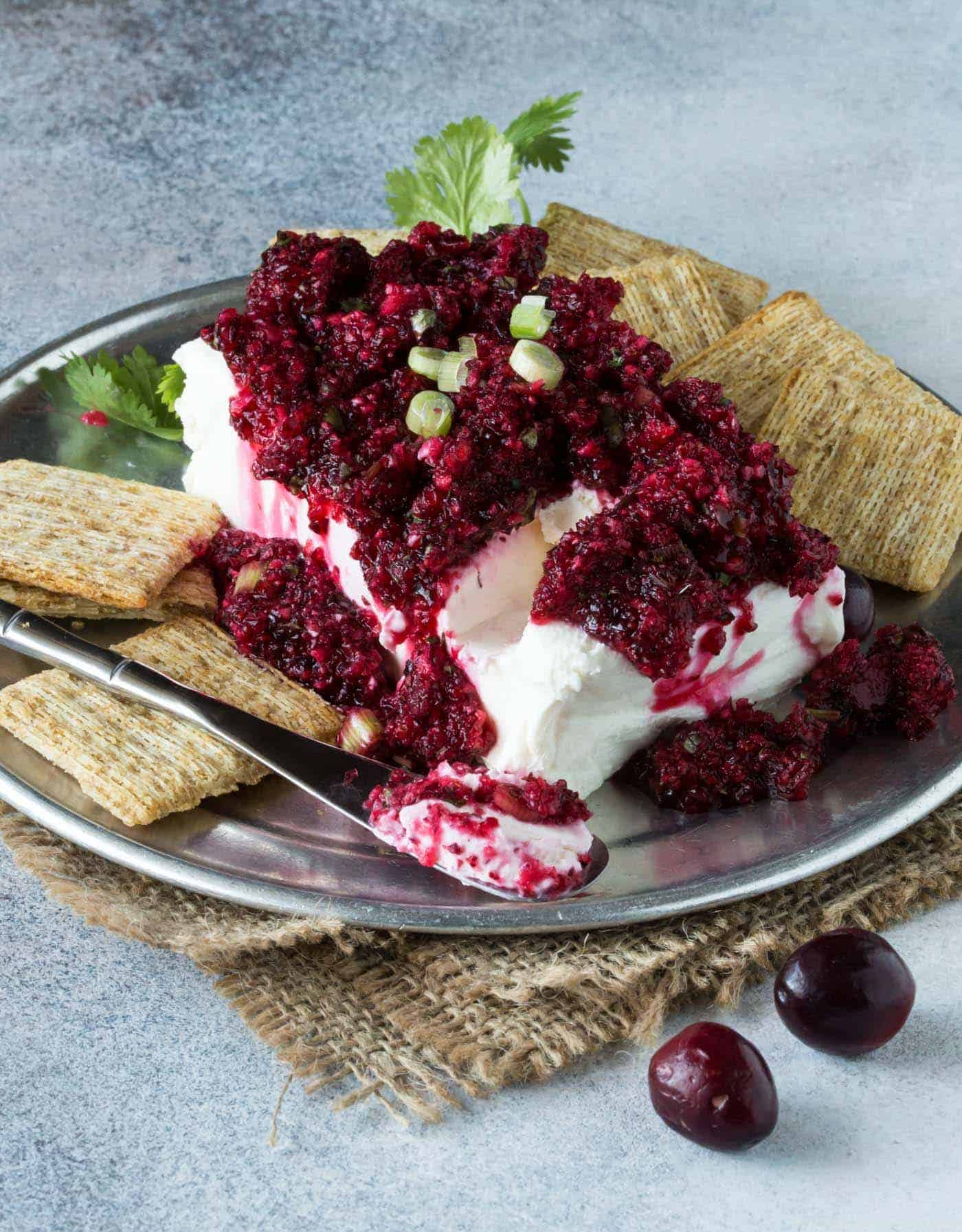 Spicy Cranberry Salsa with Cream Cheese - Easy Block Cream Cheese Appetizer Spreads that make a tasty last-minute appetizer with just a few ingredients.