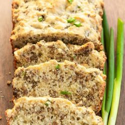 Easy, tasty, and hearty, Greek Yogurt Cheesy Sausage Quick Bread Recipe is the best sausage bread you'll ever make. It's perfect for breakfast, snack, or with a salad or soup.