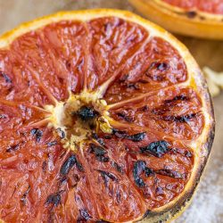 "Grapefruit Brulee Recipe transforms tart grapefruit into a rich, sweet, decadent breakfast! It has a crunchy, sweet ""brulee"" topping that makes a great, healthy breakfast or dessert!"