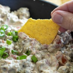Skillet Sausage Rotel Dip is amazingly addicting and great for any party or celebration.