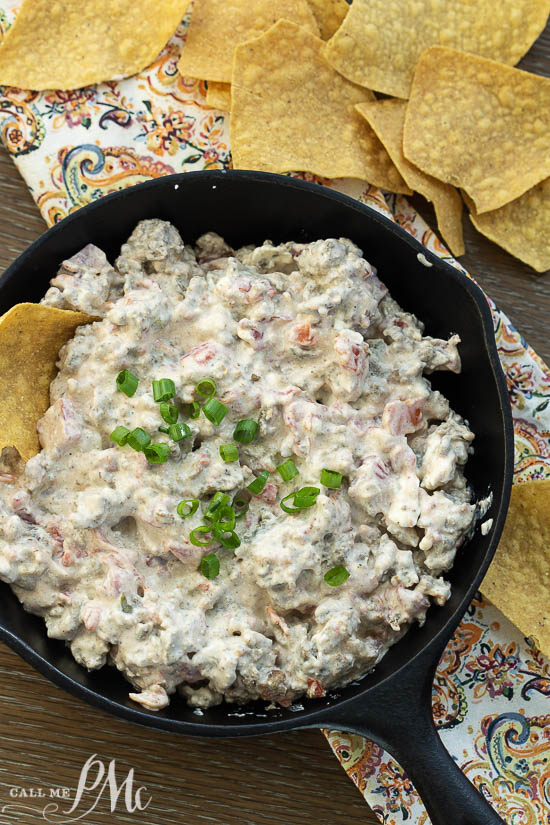 Skillet Sausage Rotel Dip is amazingly addicting and great for any party or celebration. #sausage #dip #cream cheese
