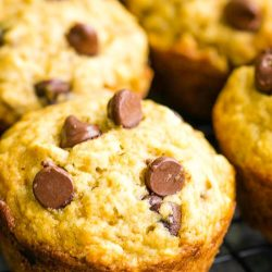 Studded with chocolate chips these Blue Ribbon Banana Bread Muffins are super moist, soft, and fluffy with a sweet banana flavor.