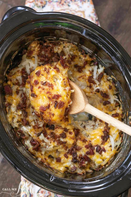 Crock Pot Crack Hash Brown Potatoes, the quintessential comfort food gets an easy and delicious make-over with the addition of Ranch seasoning and bacon.