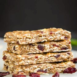 These No Bake Almond Butter Protein Bars are ultra chewy, packed with nutritious ingredients, and ready in a snap! Guaranteed to satisfy their cravings with a tasty mix of almond butter, oats, honey, and cranberries.