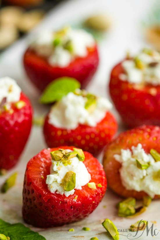 Pistachio and Feta Stuffed Strawberries