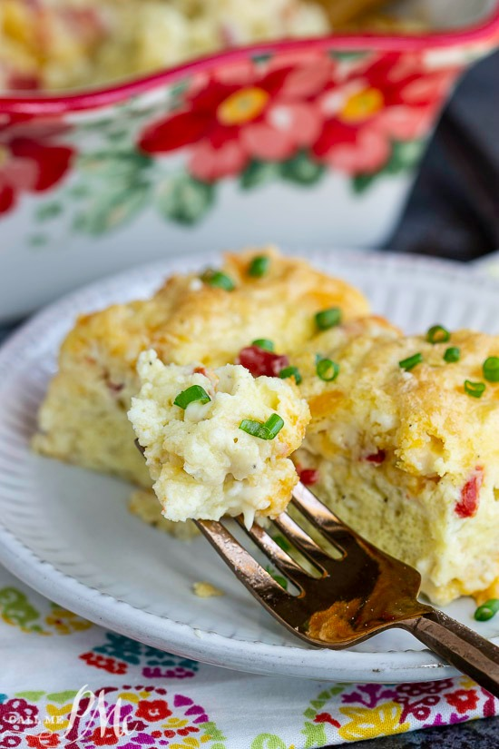 Delicious and easy to make, Fluffy Cottage Egg Casserole | Crustless Quiche is not only perfect for Easter brunch, but it's fabulous year round!