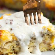SAUSAGE GRAVY BISCUIT BUBBLE UP CASSEROLE